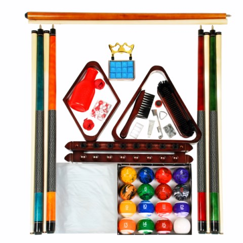 Billiard Pool Table Accessory Kit With Tech Marble Style Ball Set Mahogany Finish